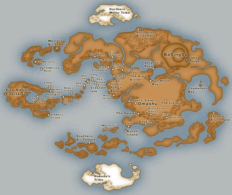 Map Of The Avatar World Avatar The Last Airbender Pinterest - Avatar the last airbender us map