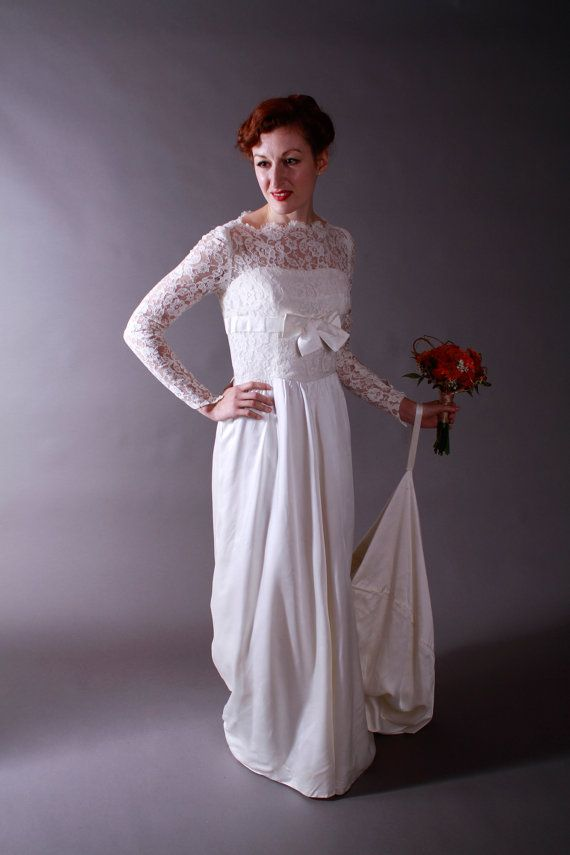 Vintage 1960s Wedding Gown - Lace and Satin Elegantly Simple Wedding Gown