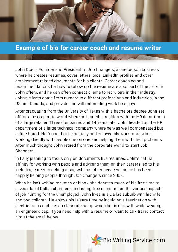 Example of bio for career coach and resume writer Education - resume writing business