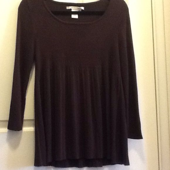 Brown Swing Sweater 3/4 sleeve. Only worn twice. Perfect condition.  Chocolate brown sweater with empire waist styling. Beneath the empire waist it is pleated to give a cute swing.  No stains, tears or rips. Tag says Extra large, but fits more like a M/L. Make offer, no trades. Studio M Sweaters Crew & Scoop Necks