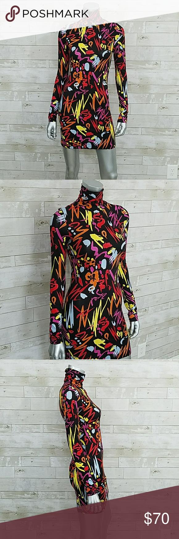 Versace abstract long sleeve turtleneck dress long sleeve