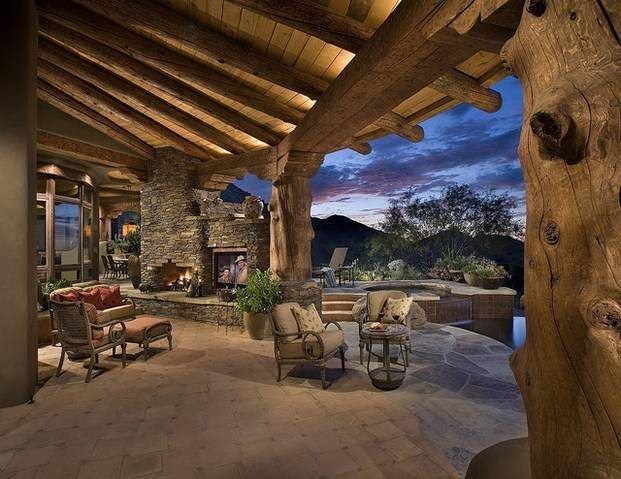 Luxury Medieval Design For Patio With Built In Stone Fireplace