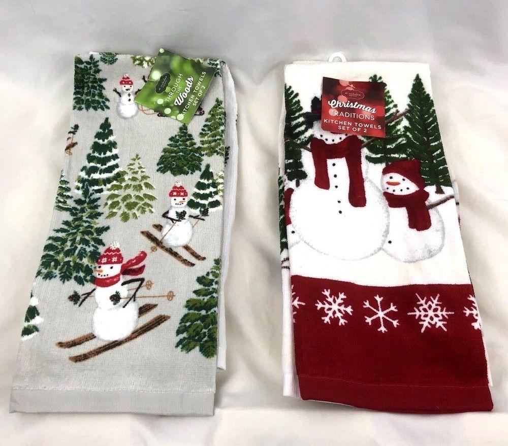 St Nicholas Square Christmas Snowmen Kitchen Towels Lot Of 4