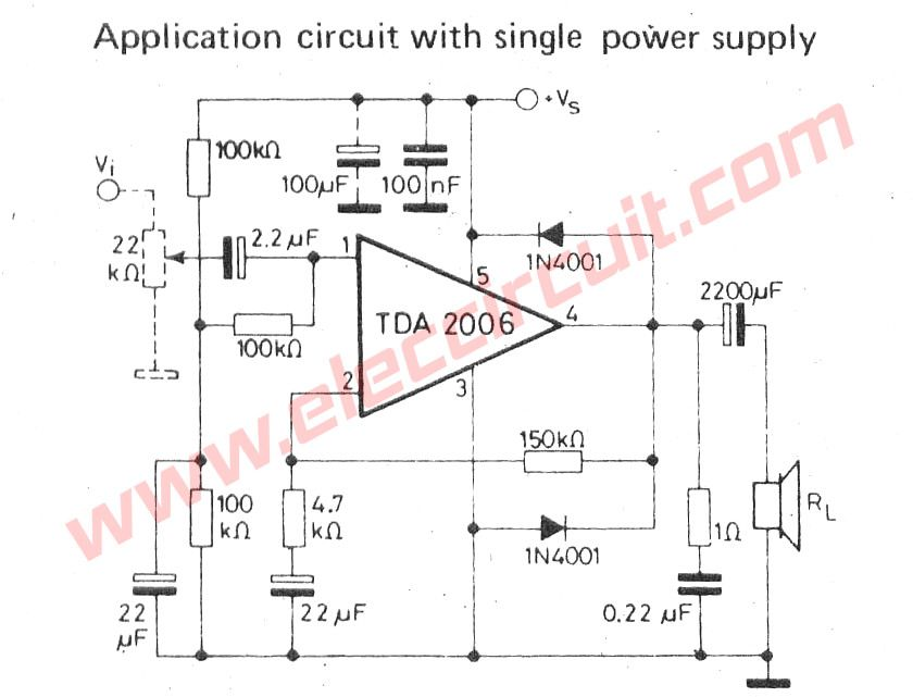Small Ic Power Lifier Circuits For Speaker Lifiers Rhpinterest: Single Supply Circuit Schematic Diagram At Gmaili.net