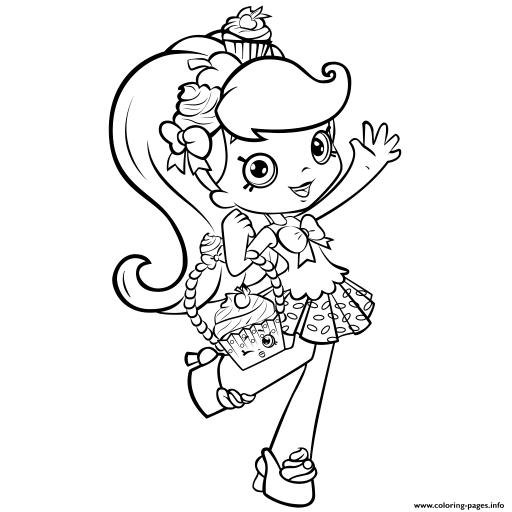 Print shopkins girl shoppie say hi coloring pages Sew
