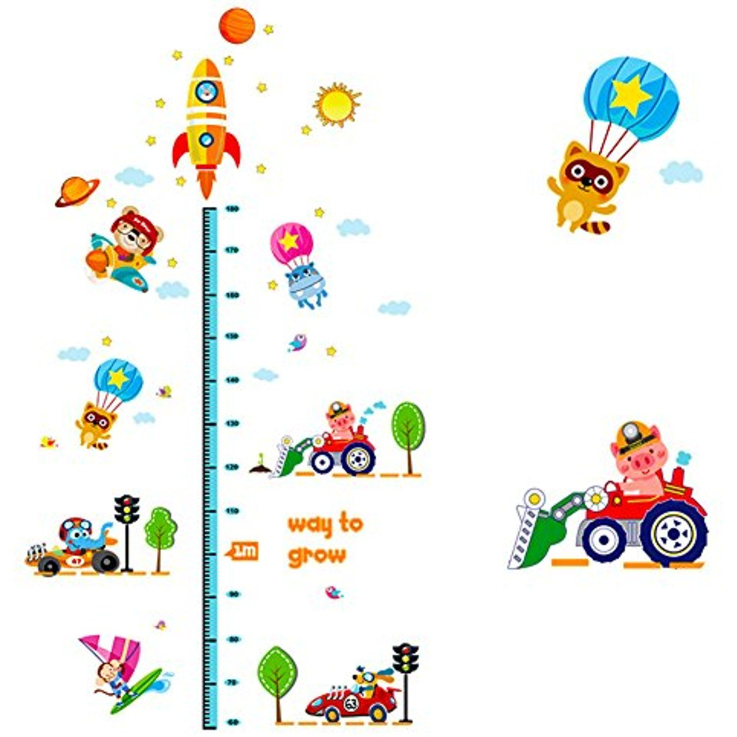 Cute transportation pattern height growth chart wall sticker decal cute transportation pattern height growth chart wall sticker decal paper for nursery kids bed room geenschuldenfo Image collections