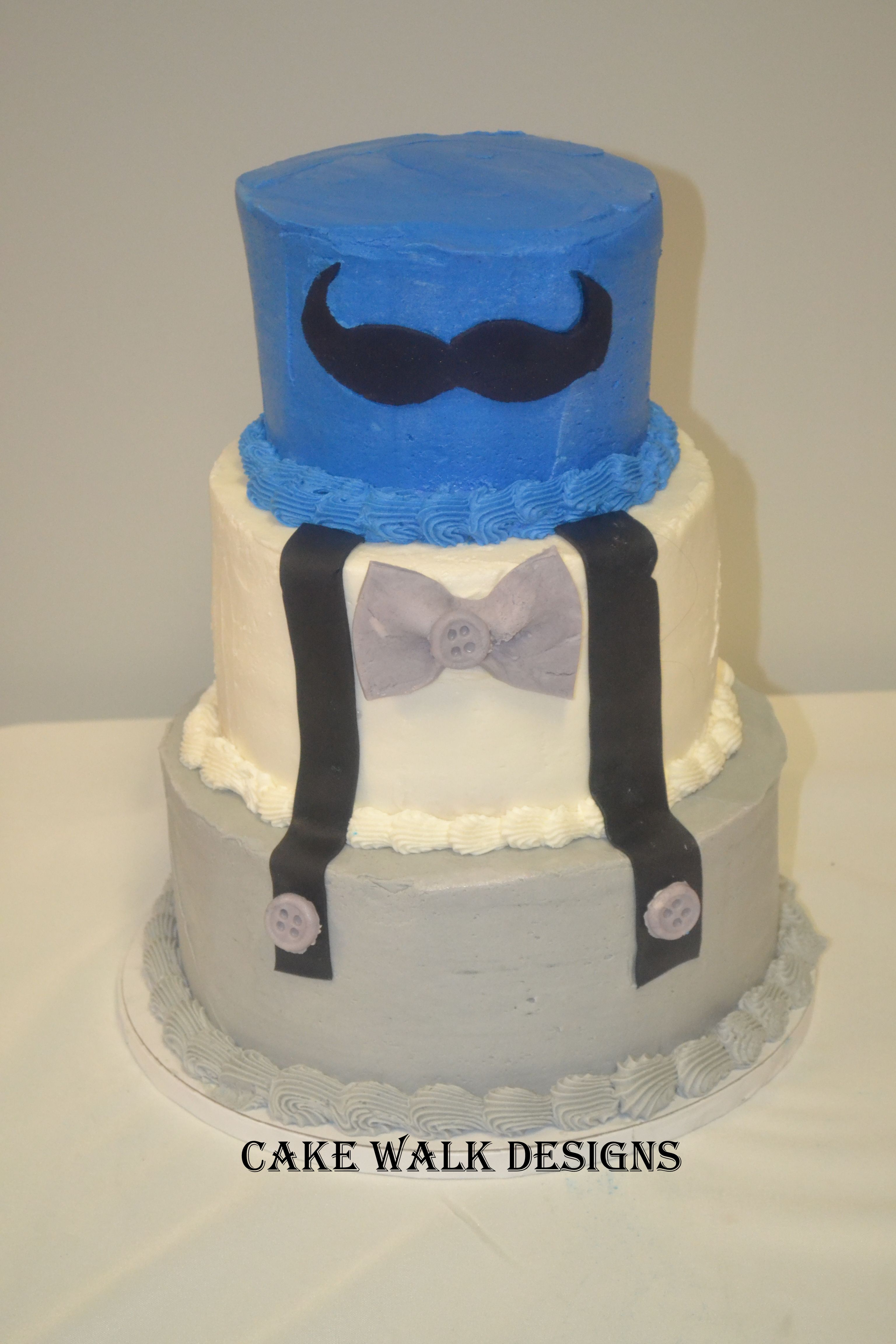 Boys Baby Shower Cake, Mustache And Suspenders