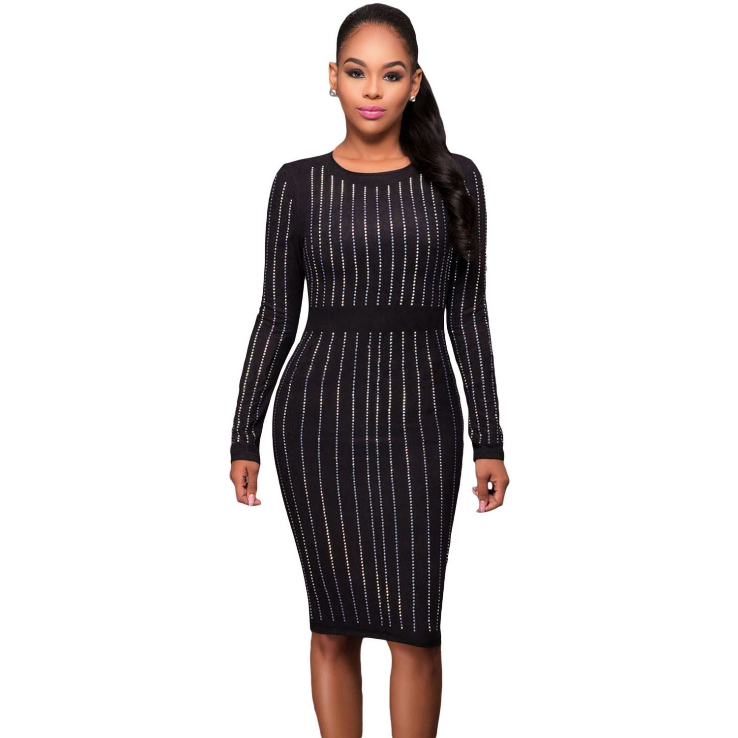 Black faux suede front long sleeves midi dress laveliq products