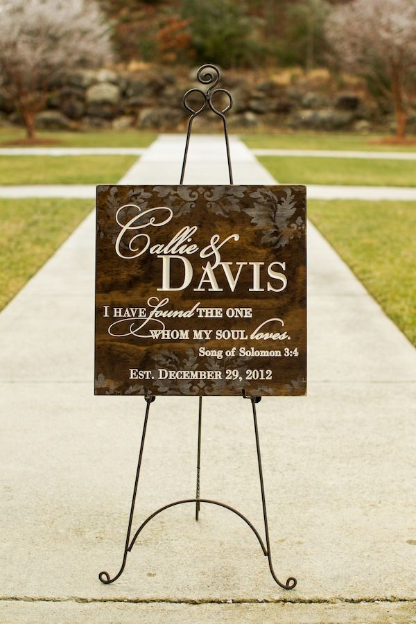 Beautiful Wooden Engraved Sign Designed To Match The Damask Wedding Invitation And Linens Used