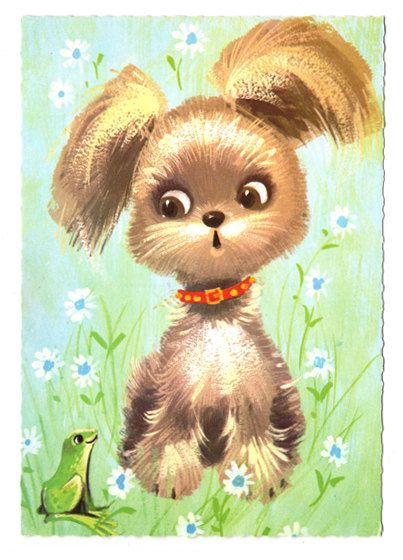Vintage big eyed post card 70s. Cute dog with big brown eyes talking to his friend the frog.