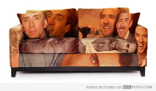 Creepy Nicolas Cage couch - Funny couch with creepy Nicolas Cage ...