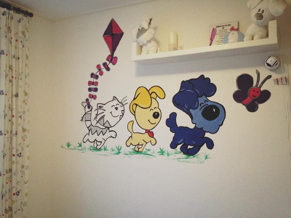 Muurschildering babykamer woezel en pip: muurschildering in de
