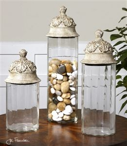Uttermost Acorn Gl Cylinder Canisters Set Of 3