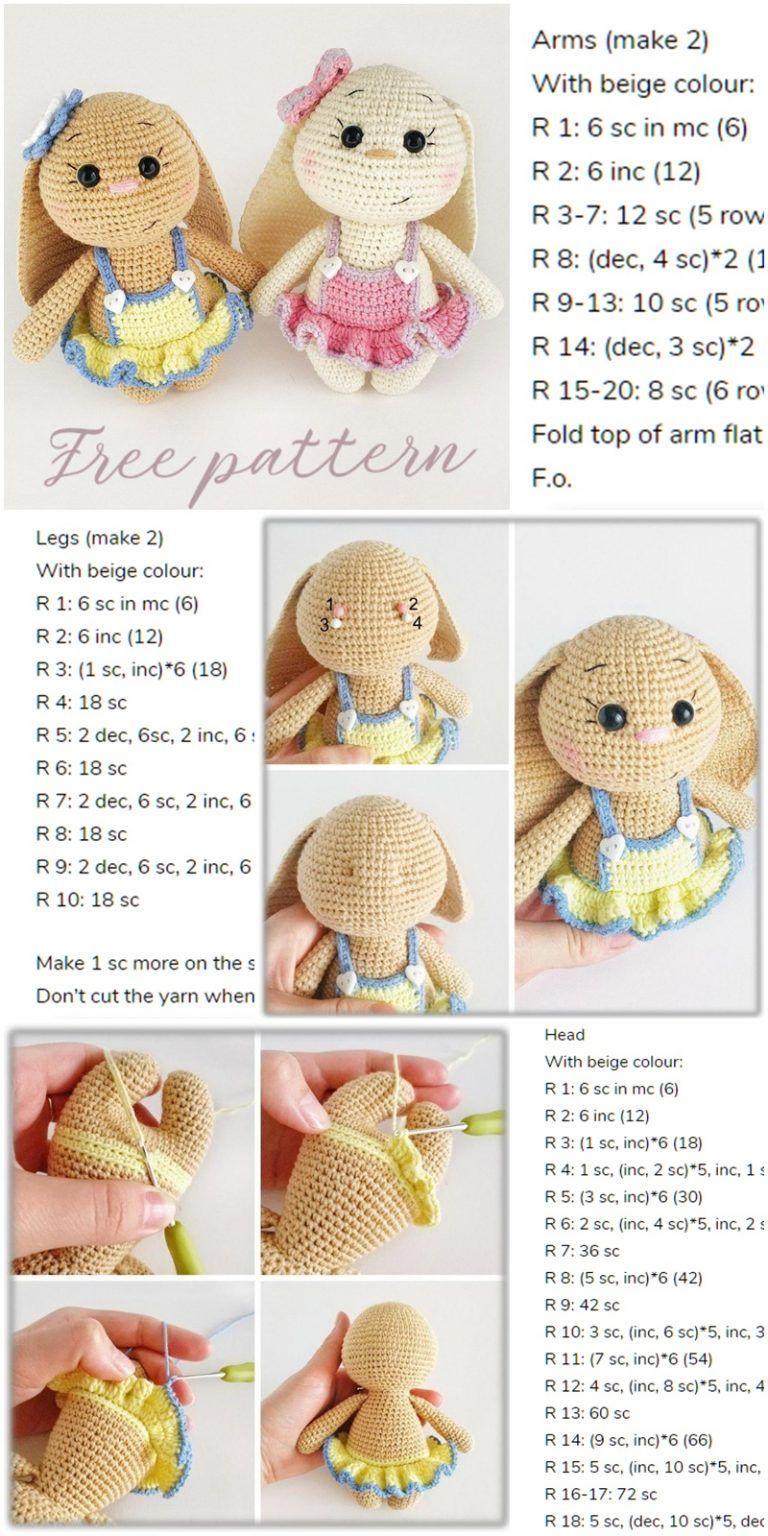 #amigurumi #crochet #pattern #spring #bunny #dress #free #inAmigurumi Spring Bunny in Dress Free Crochet Pattern - Amigurumi Crochet #eastercrochetpatterns