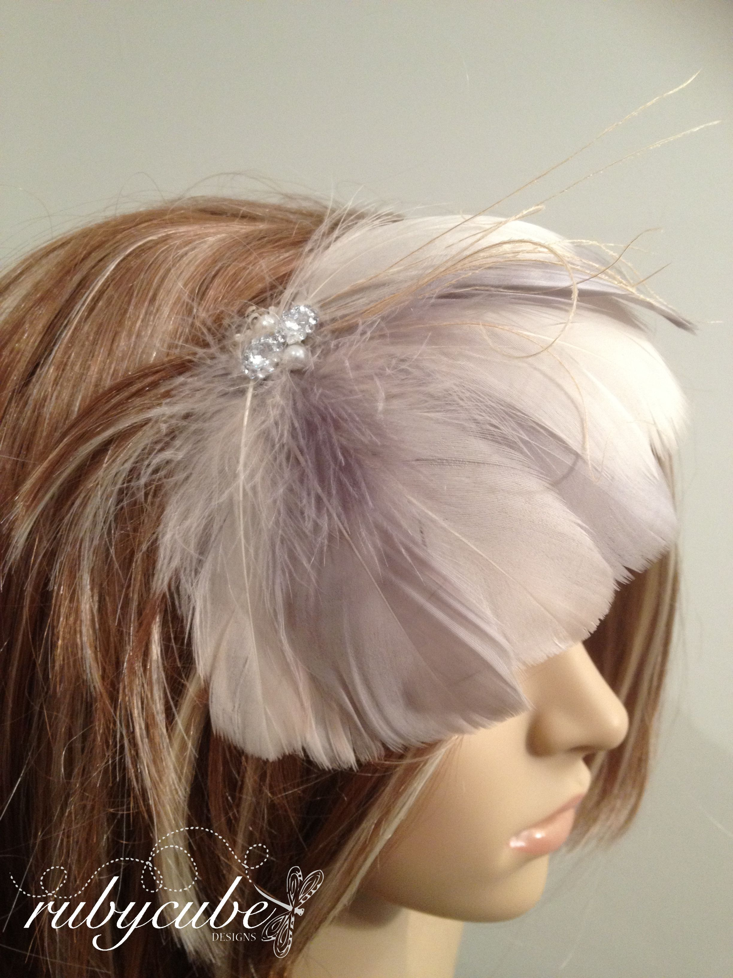 Champagne u grey feather fan perfect hair accessory for weddings