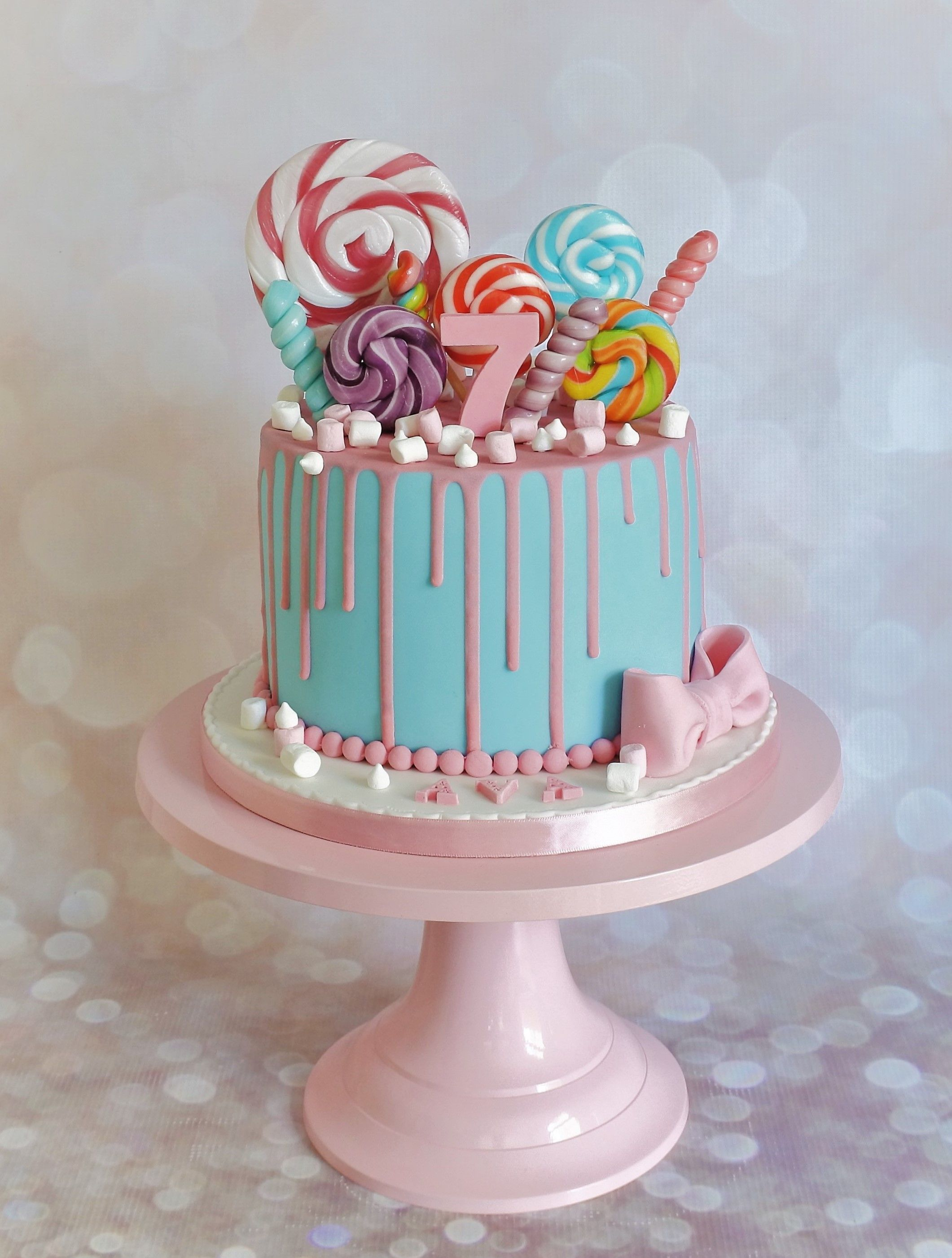 Blue And Pink Lollypop Sweet Drip Cake With Images Candy