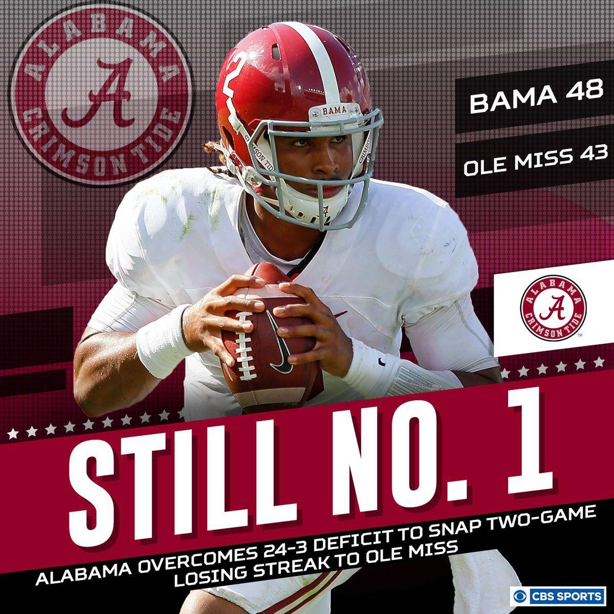 Alabama 48 Ole Miss 43 Alabama Still 1 Bamavsmiss Alabama