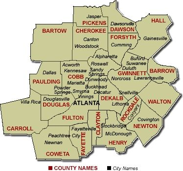 Atlanta Ga Area Map County Fulton County Gwinnett County Henry - Georgia map duluth