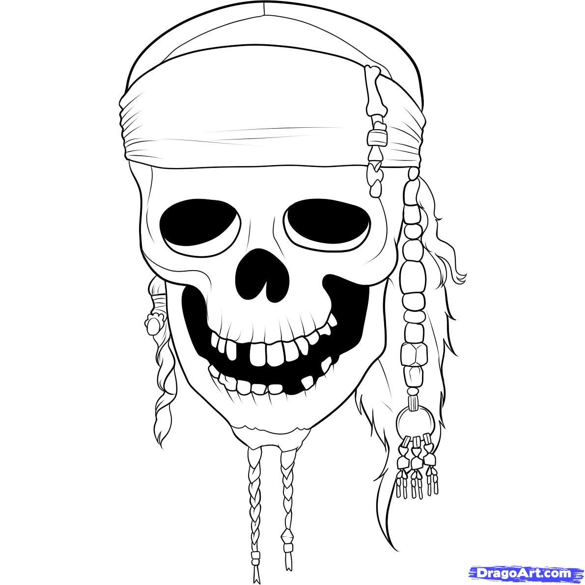 How to Draw Pirates of the Caribbean skull | Art Lessons ...