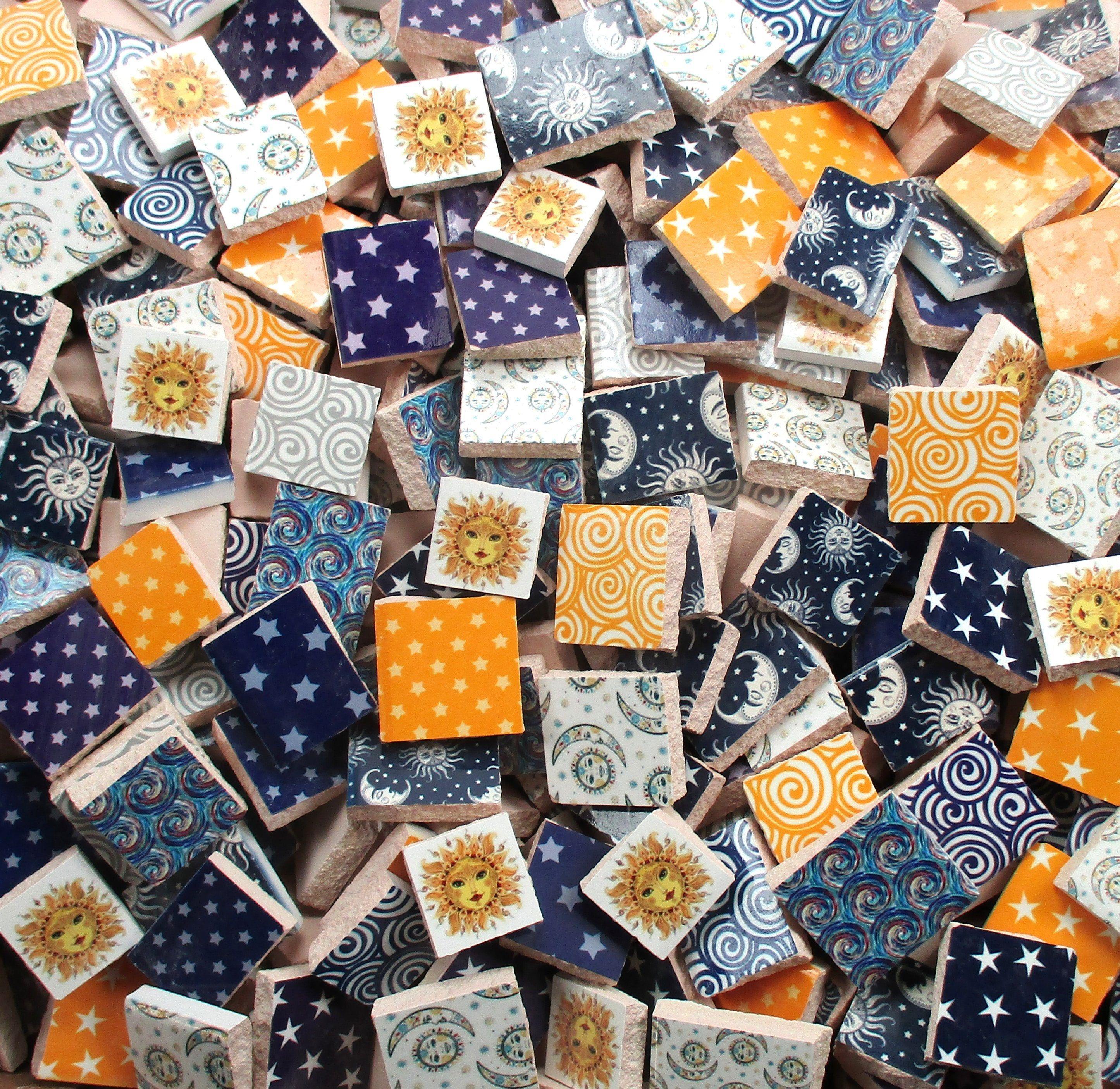 Bulk Mosaic Tiles 2 Pounds Mixed Designs Patterns Sun Face Moon Face Stars Swirls Tiles Bulk Mosaic Tiles For Mosaic Art Re Mosaic Tiles Mosaic Mosaic Art