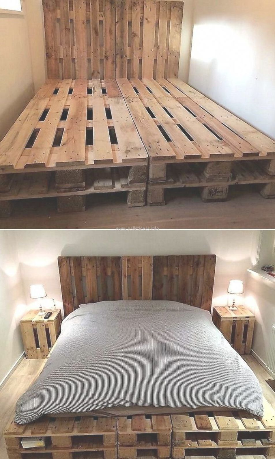 Now Come To An Idea Of Creating A Bed With Pallets With The Tall Headboard The Idea Is Sim Pallet Furniture Bedroom Pallet Furniture Pallet Projects Furniture
