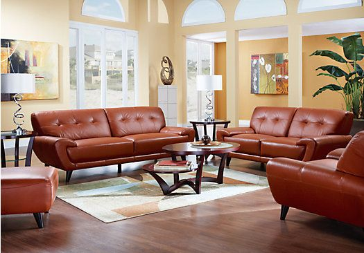 Shop For A Cindy Crawford Home Midtown East Terracotta Leather 5 Pc Livingroom At Rooms To Go Find Living Room Sets That Will Look Great In Your