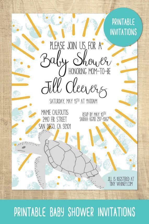 Printable Invitations - Ocean Animal Baby Shower Invitations ...