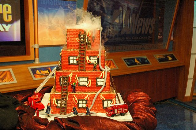 Fireman Cake 4-2006 | Used dry ice in top dummy layer to cre… | Flickr