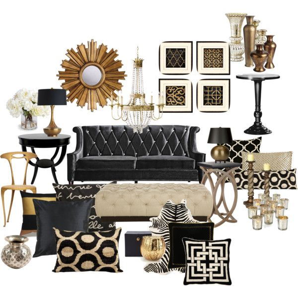 22 modern living room design ideas home decor black gold living room room decor. Black Bedroom Furniture Sets. Home Design Ideas
