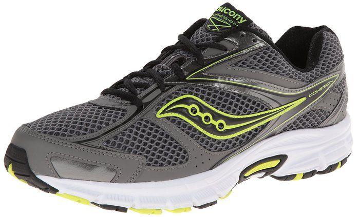 37ed74bf Saucony Men's Cohesion 8 Running Shoe, Grey/Black/Citron, 7 M US ...