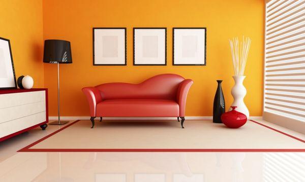 Wände streichen \u2013 Farbideen für orange Wandgestaltung Dekoration