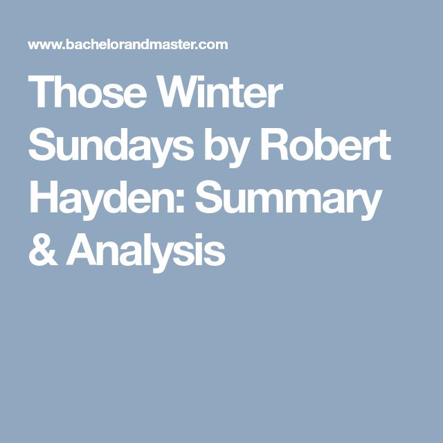 those winter sundays by robert hayden analysis
