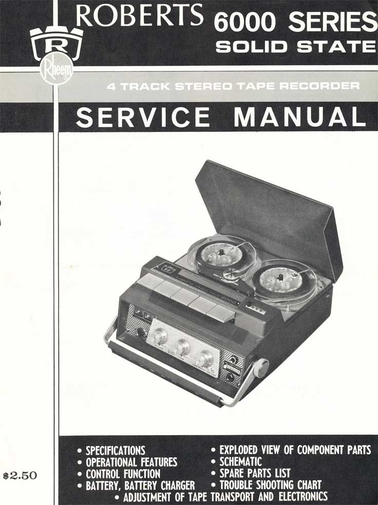 Manual Cover For The Roberts 6000 Reel Tape Recorder In