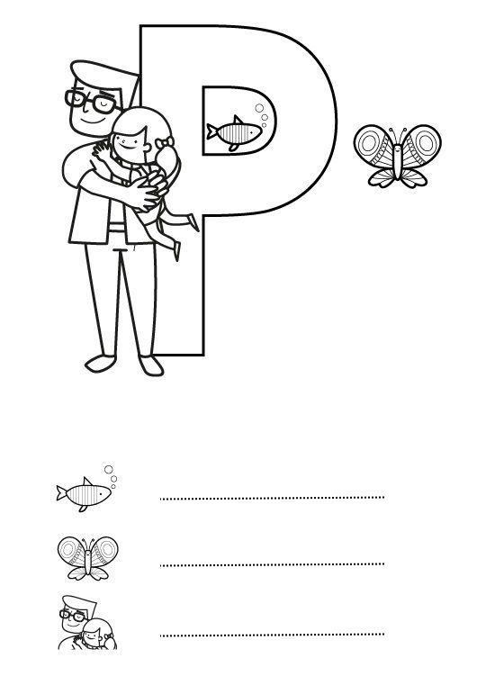 Letra P: dibujo para colorear e imprimir | Carpeta de lectoescritura ...