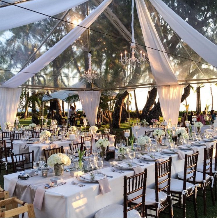 Clear Tent I White Swags I Chandelier Tent Decorations