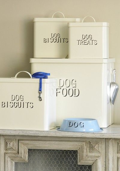 Enamel Dog Food Storage Containers .