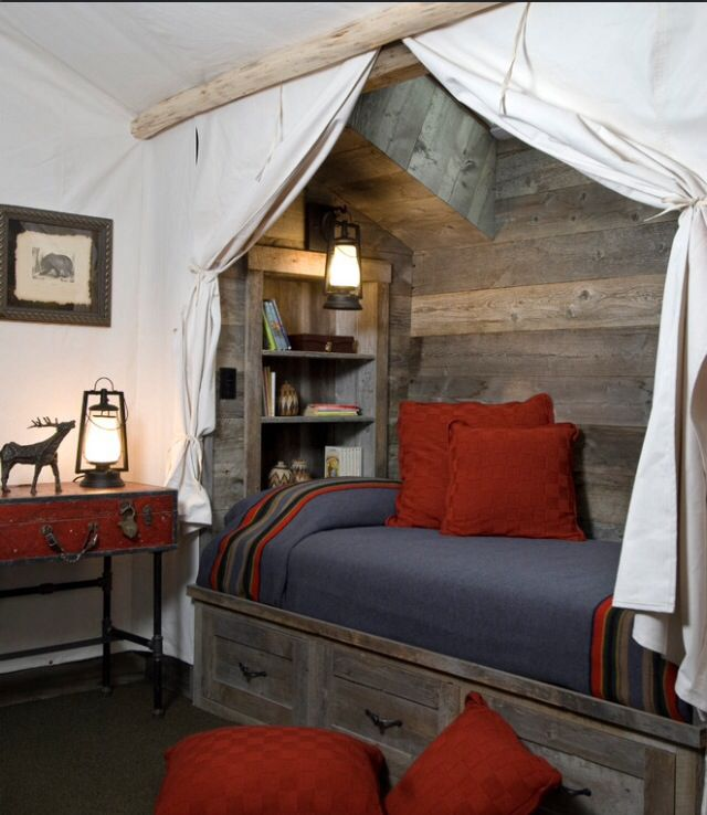 Rustic Masculine Bedroom Ideas: Rustic Bed. Attic Bed. Loft Room. Cute. Masculine. Rustic