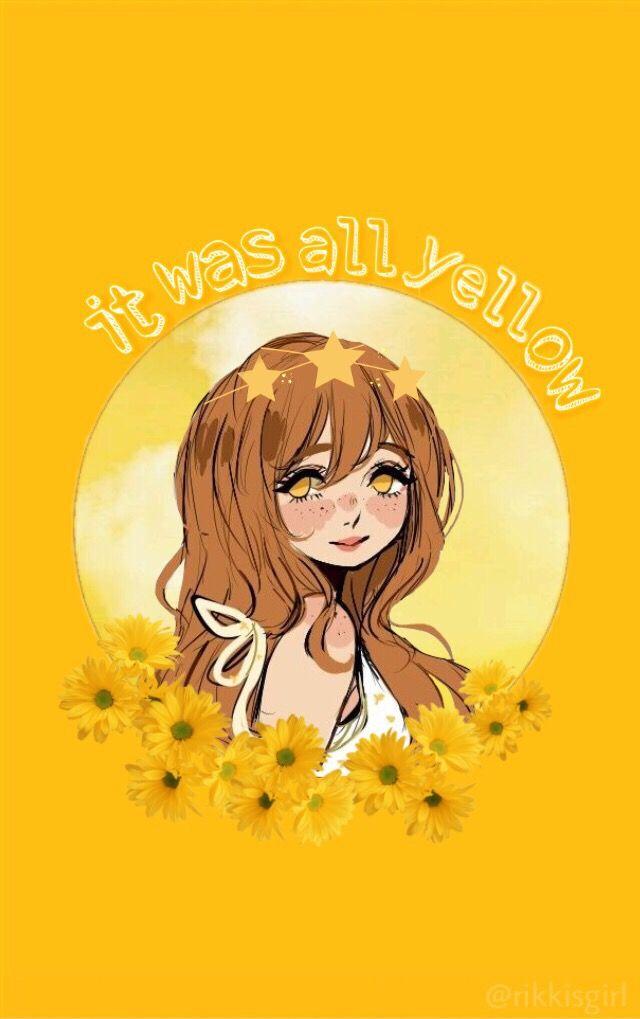 yellow aesthetic phone wallpaper aesthetic anime yellow