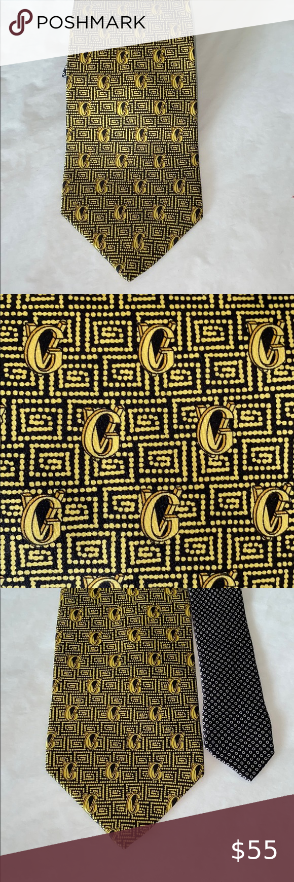 Gianni Versace Black Gold Logo Silk Tie Fabulous Gold And Black Tie Gv Logo 3 1 2 Wide 59 Long Made In Italy Versace Acc Silk Ties Gold Logo Gianni Versace