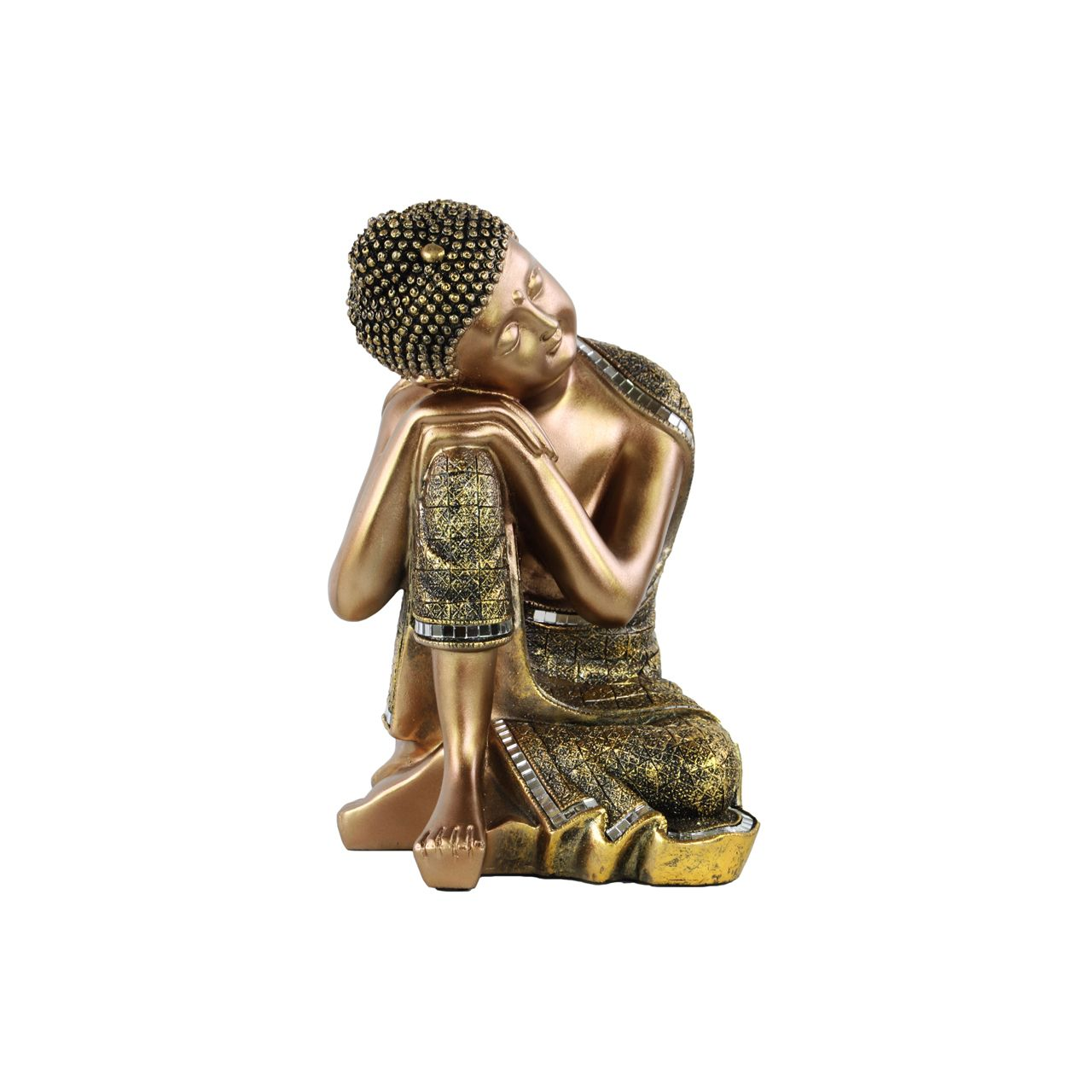 Urban Trends Collection Painted Finish Buddha with Small Ushnisha with Head Resting on Knee