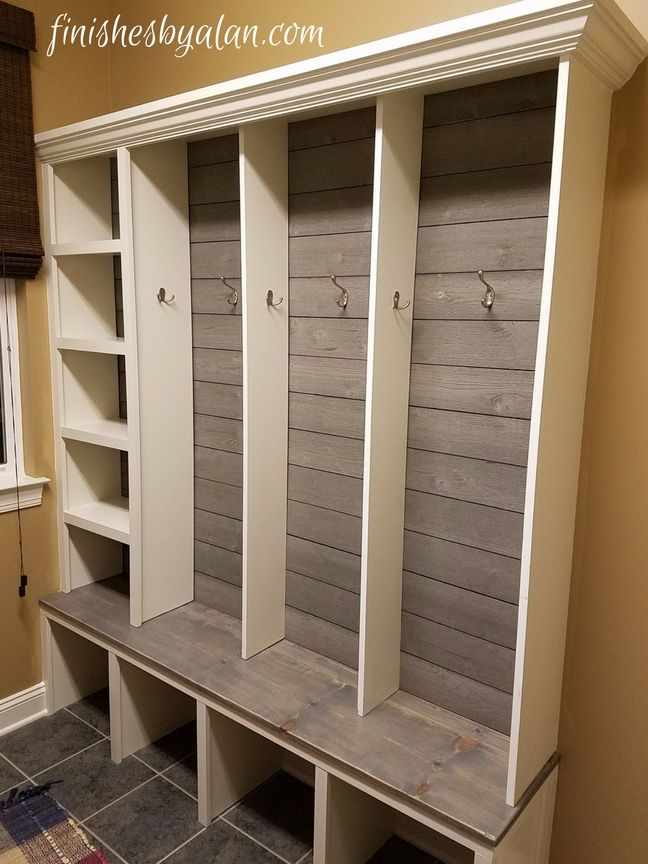 Beautiful Modern Mudroom Bench With Grey Shiplap
