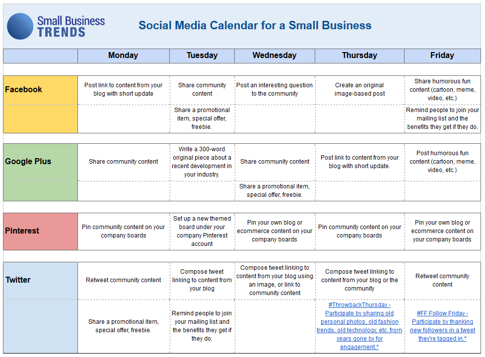Social Media Calendar Template For Small Business  Social Media