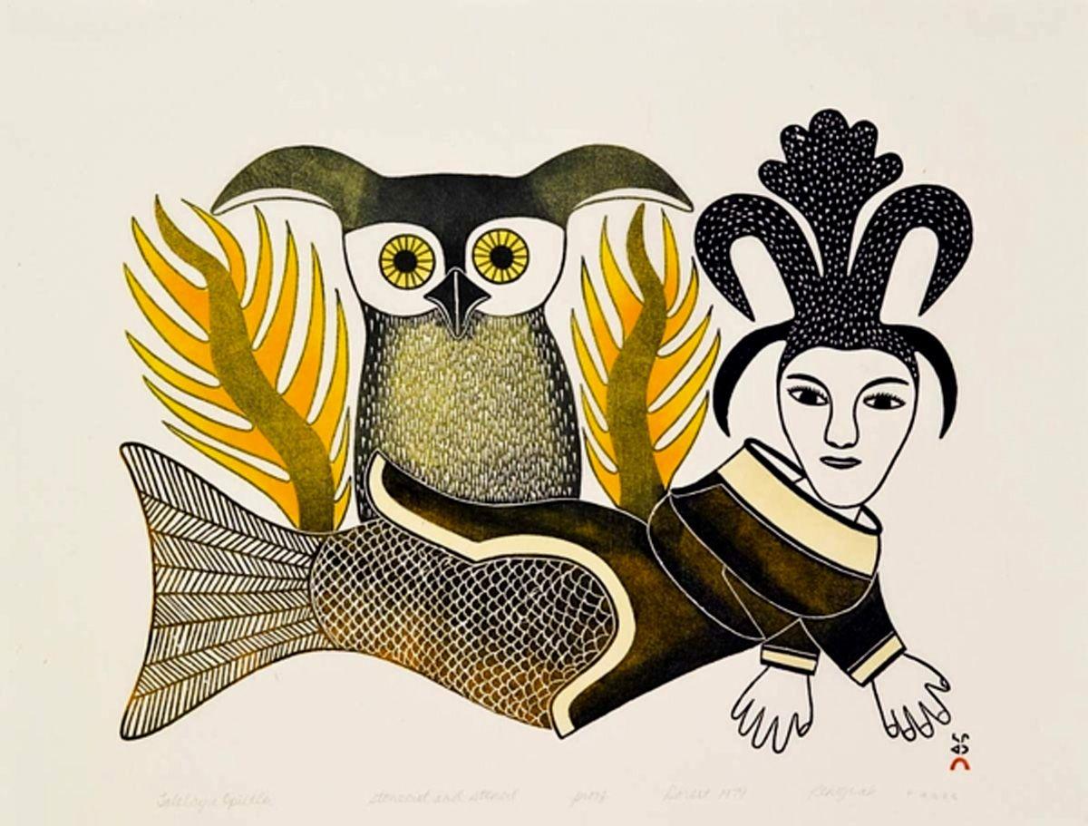 Talelayu Opiitlu (Talelayu with Owl) by Kenojuak Ashevak