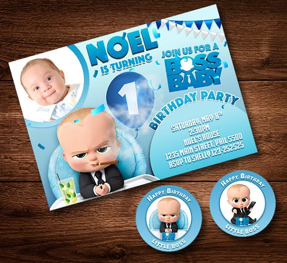 Boss Baby Invitation Card And Cake Toppers Party Card Boss Kids - Birthday invitation card baby