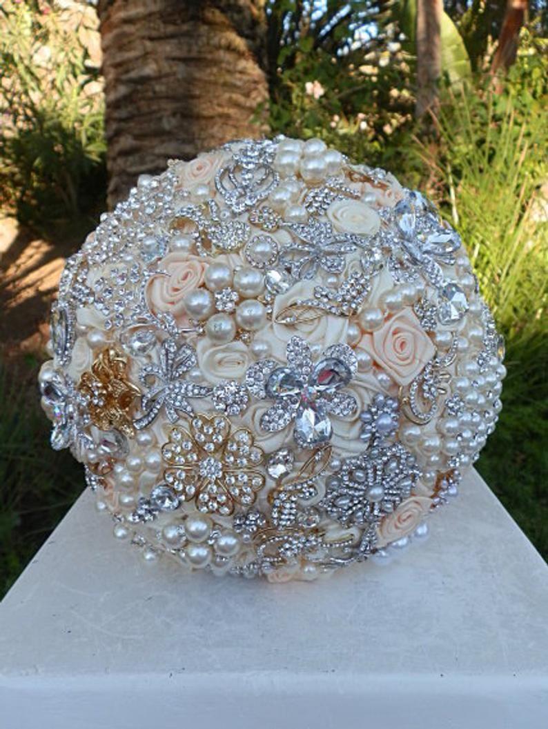 Custom Peach and Silver BRIDAL BROOCH BOUQUET Round Silver Jeweled Wedding Bouquet,Deposit Ivory and Peach Brooch Bouquet