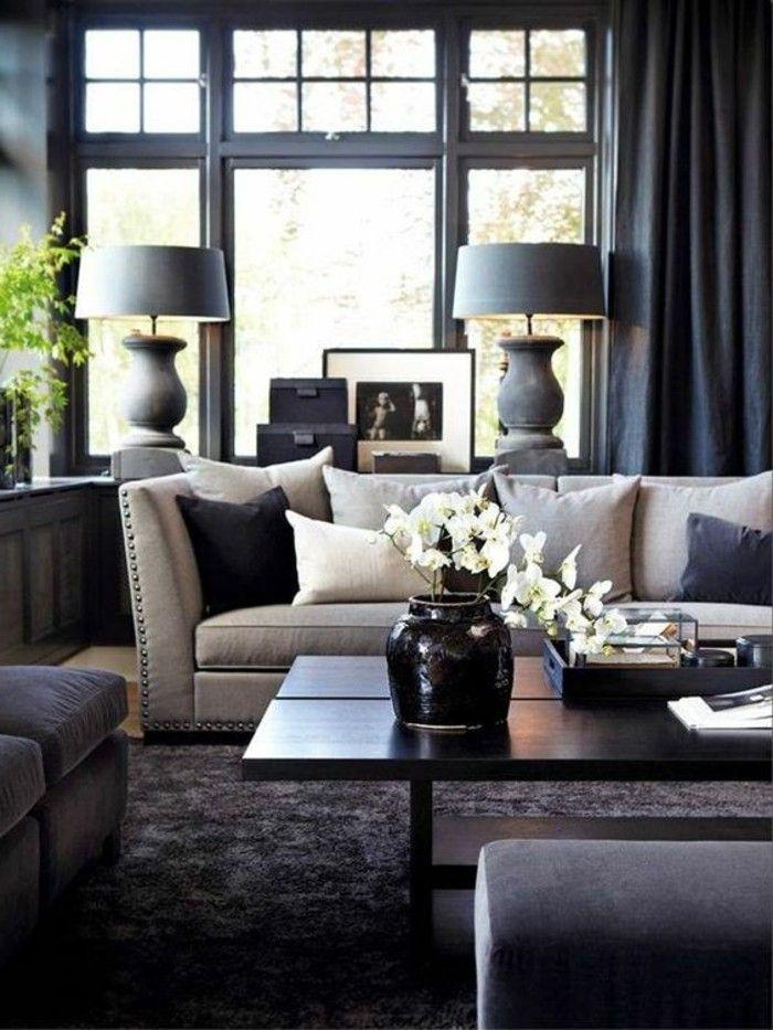 schoene sofas schickes sofa schwarzer teppich tischlampen