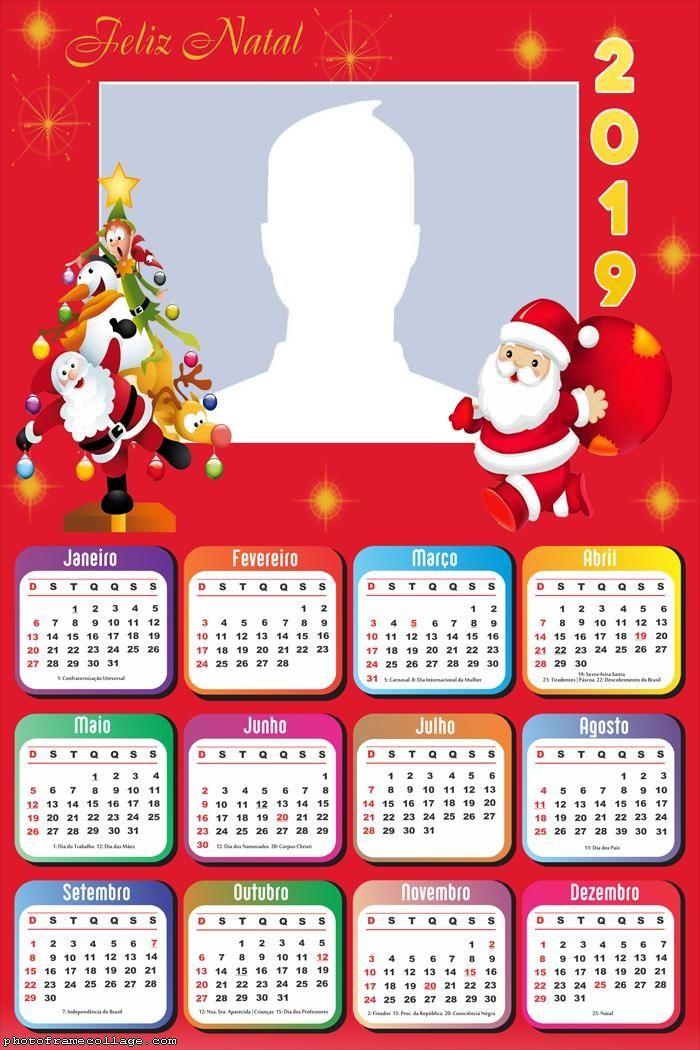 Tree And Santa Claus Calendar 2019 Frame Photo Montage