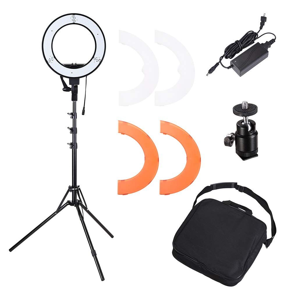 AW Dimmable 14 35W 5500K LED Ring Light with Tripod Ball Head Color Filter Photo Live Game and Video Lighting Stand Kit