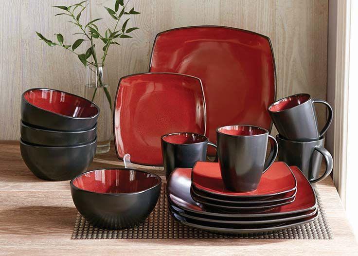 Home Square Dinnerware Set Dinnerware Set Red Dinnerware