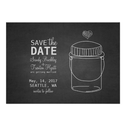 Rustic Chalkboard and Mason Jar Save the Date Custom Invites